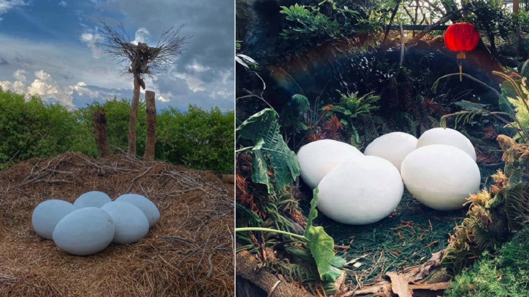 幾乎有半個人身大的「恐龍蛋」造景。(合成圖/翻攝自花露農場 FlowerHome臉書) 巨型恐龍蛋出沒! 苗栗超夯祕境一秒「走進侏儸紀」