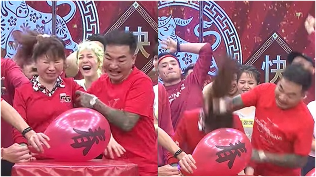 女素人撞氣球拿獎金片段引熱議。(圖/翻攝自民視綜藝娛樂YouTube) 尪為5千「狂壓妻頭撞氣球」 紅到國外網笑:計畫很久