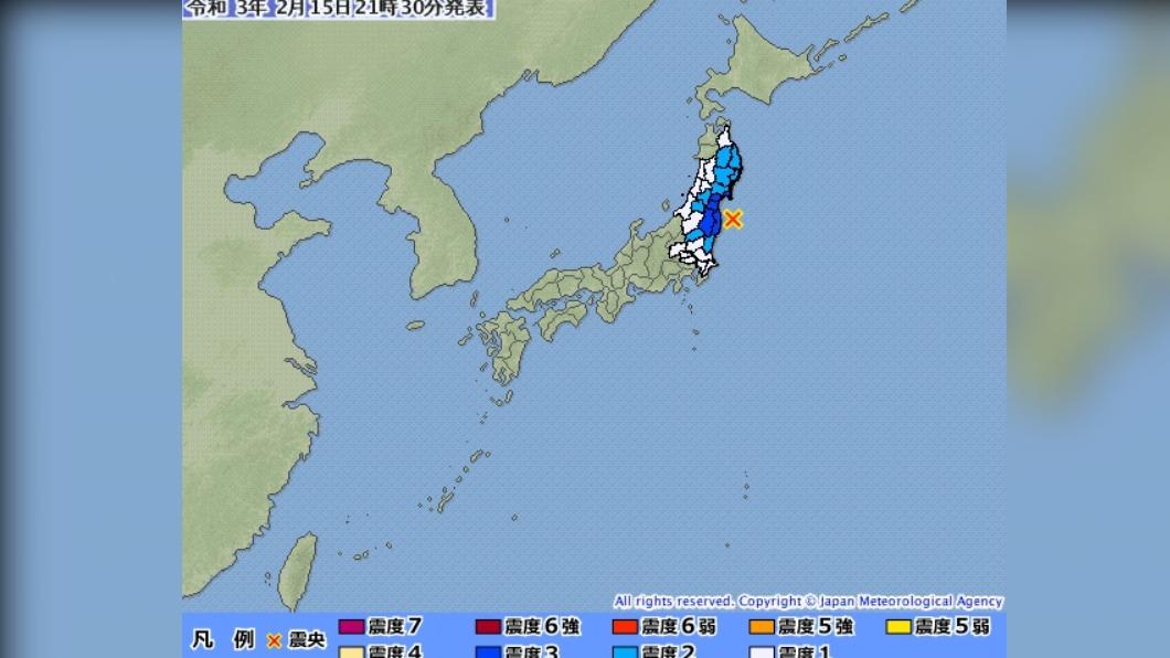 日本再發生規模5.3餘震。(圖/日本氣象廳) 日本福島1.5小時連4震 規模5.3「2天來最大餘震」