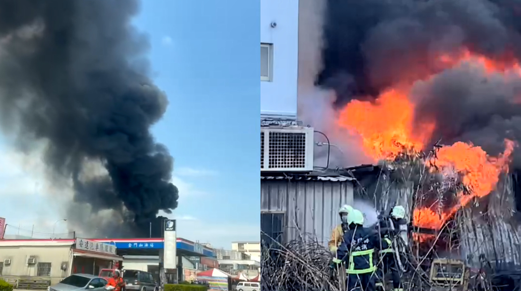 金門輪胎店起火爆炸 離加油站不到百公尺