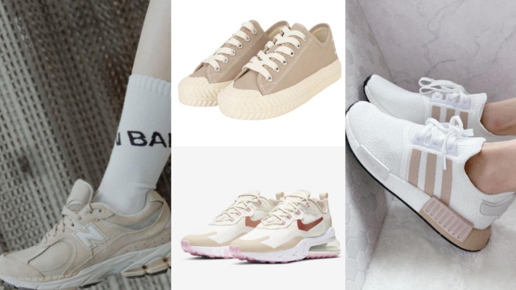 日常穿搭必備的5款奶茶系球鞋。(合成圖/nike、reebok、mlb-korea網站、fruition_shop IG、NewBalanceTaiwan臉書) 日常穿搭必備! 特搜5款「奶茶色」球鞋美到戀愛
