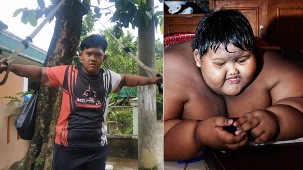 印尼少年帕馬納曾有「世界最胖弟」的稱號。(合成圖/翻攝自The Sun) 「世界最胖弟」狂剷109公斤 5年後零復胖進化超驚人