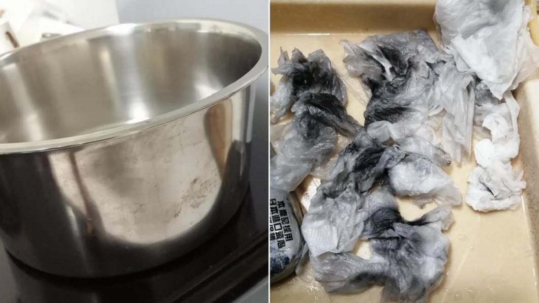 買來全新不鏽鋼鍋,外層竟擦出一堆黑油。(合成圖/翻攝自「爆怨公社」) 新鍋煮出「噁爛黑油」 內行曝真相:別吃下肚!