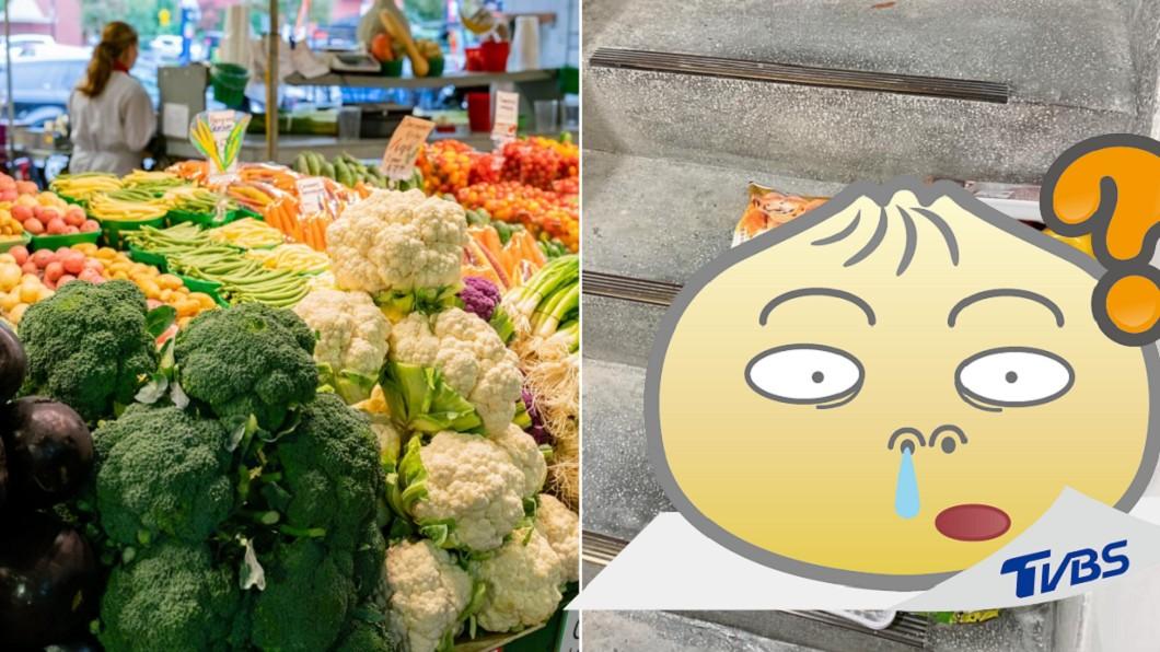 外送員將商品整齊排列,看起來就像菜市場地攤。(合成圖/shutterstock 達志影像、翻攝自「爆廢公社二館」) 外送無接觸服務 蔬果被擺成「菜市場地攤」傻爆眼