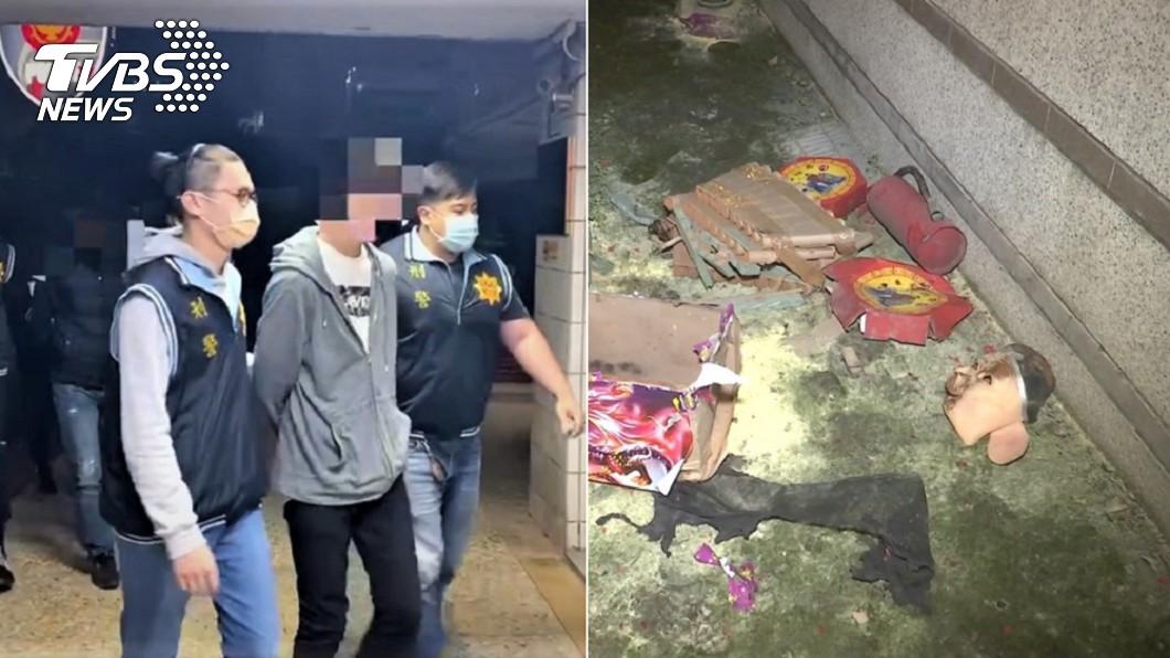 五股區丟擲爆竹的「豬臉怪客」遭逮。(圖/中央社、TVBS) 新北「豬臉怪客」抓到了! 起獲改造手槍、數發子彈