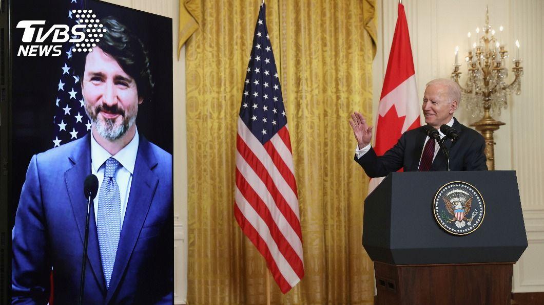 拜登與加總理杜魯道首次視訊會談。(圖/達志影像路透社) 拜登、杜魯道首次視訊會談 合作面對大陸競爭