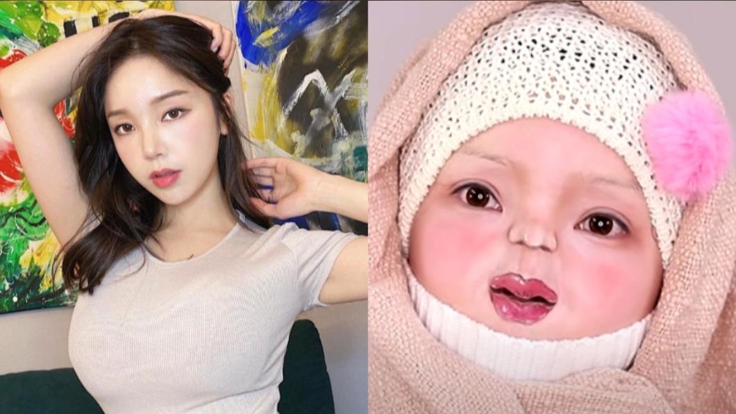 化妝師的嬰兒仿妝登上熱搜。(合成圖/翻攝自「PURE.D퓨어디」YouTube、「pure.ddd」IG) 免整形仿妝超獵奇!韓YouTuber靠妝容變回嬰兒