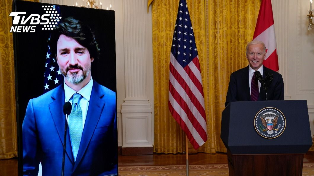 圖/達志影像美聯社 拜登上任首場雙邊峰會 視訊加拿大總理