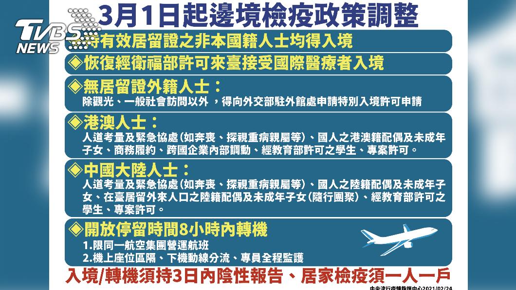 3月1日起邊境檢疫政策調整。(圖/中央流行疫情指揮中心) 入境鬆綁 3/1起恢復非本國籍人士有條件入台