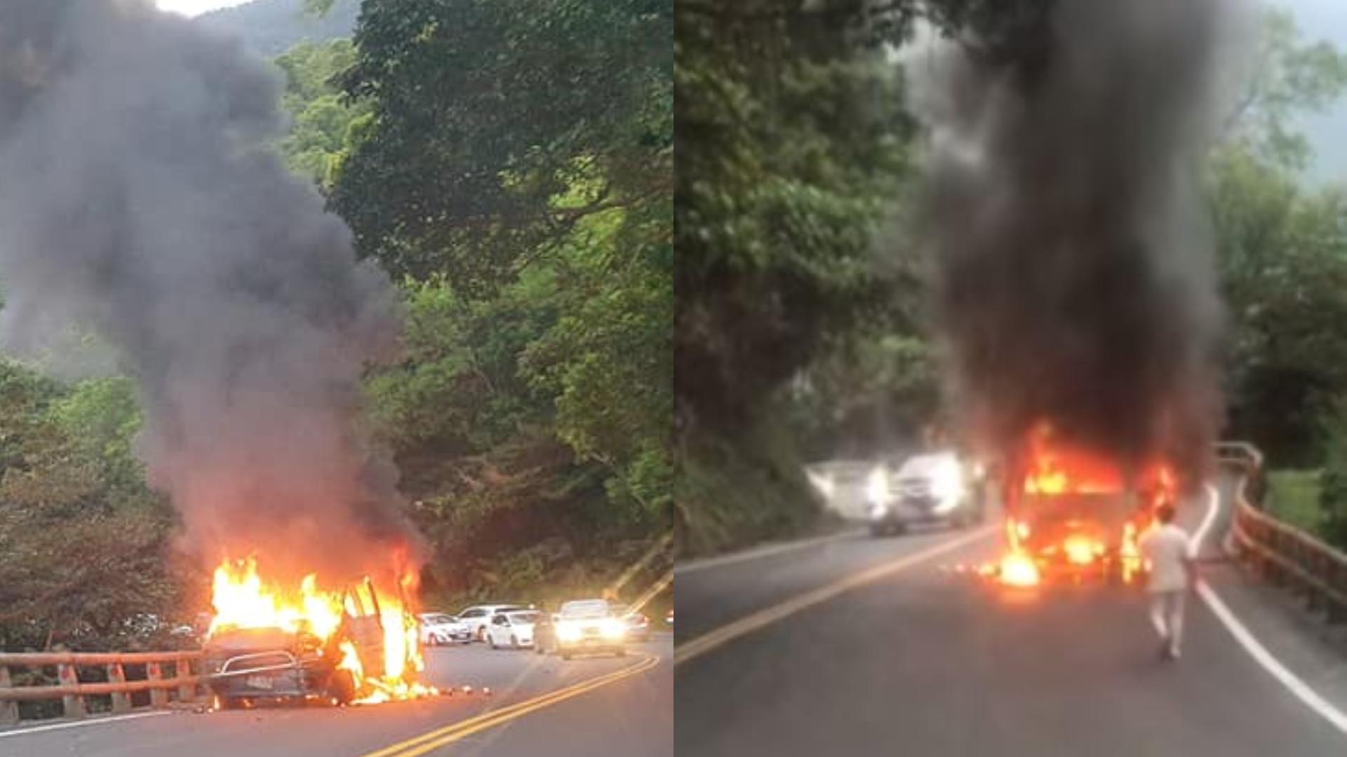 蘇花公路2車對撞起火燃燒 大塞車嚴重回堵