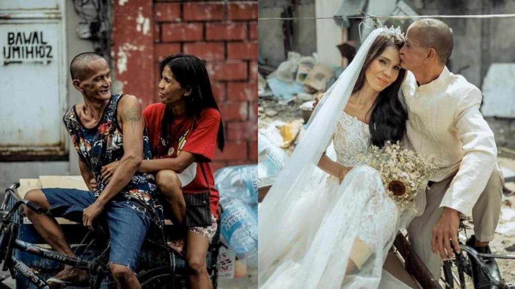 菲國拾荒情侶成功結婚圓夢。(合成圖/翻攝自Allahumma ighfirli Aisha臉書) 菲拾荒情侶沒錢結婚 新娘等24年穿婚紗感動圓夢