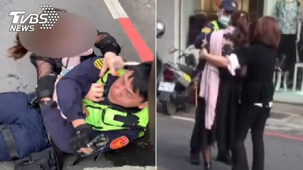 曹女使出剪刀腳鎖喉員警反遭壓制。(圖/TVBS) 貴婦剪刀腳鎖喉員警 路過男喊燒「人家女生」遭肉搜