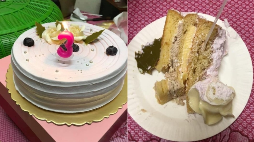 簡姓媽媽食用後發現蛋糕體黏且發酸,店家隨後坦承疏失。(圖/翻攝自臉書社團「爆料公社」) 蛋糕發酸「員工都不敢吃」 店家道歉完反上警局提告