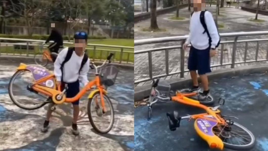 約有3名少年在土城線形公園大肆惡搞YouBike單車。(圖/翻攝自爆料公社二社) 少年破壞YouBike摔地踩輪狂笑 業者不忍了提告
