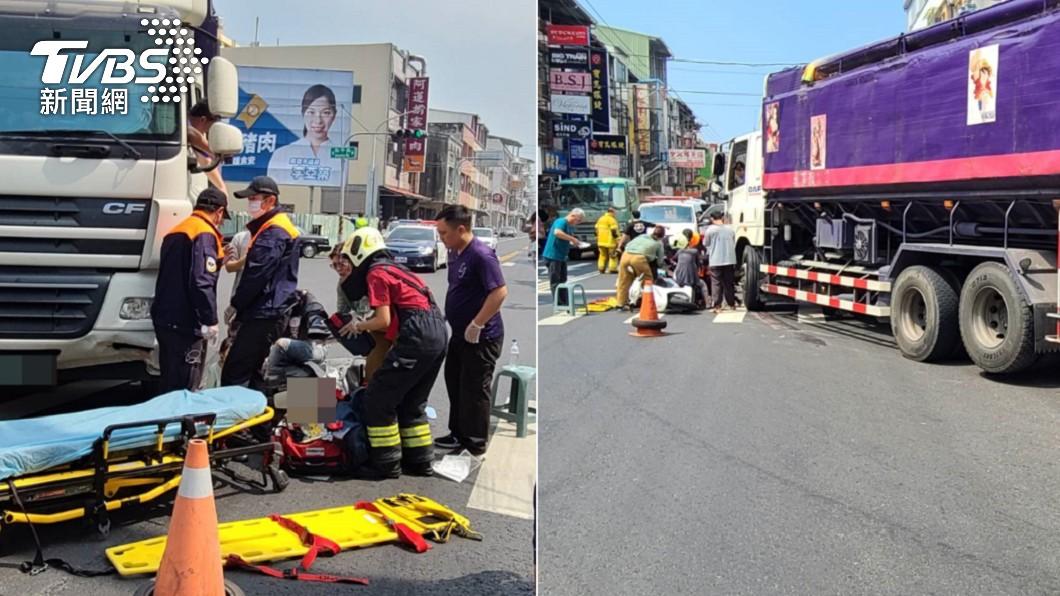 高雄發生一起聯結車、機車碰撞事故。(圖/TVBS) 聯結車撞翻3貼母女! 女童「遭捲車底」傷重搶救中