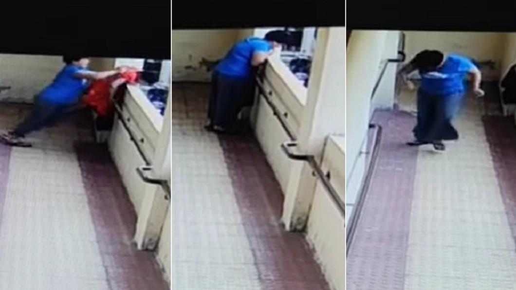 13歲少女使盡全力推人下樓後離開。(合成圖/翻攝自Policenama臉書) 無故拉人推下樓 印少女探頭「確認死了」轉身走
