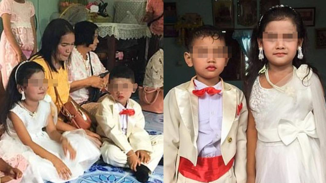 泰國一對5歲龍鳳胎結婚。(圖/翻攝自《每日郵報》) 父母信「前世是情人」消業障 泰5歲龍鳳胎被逼婚