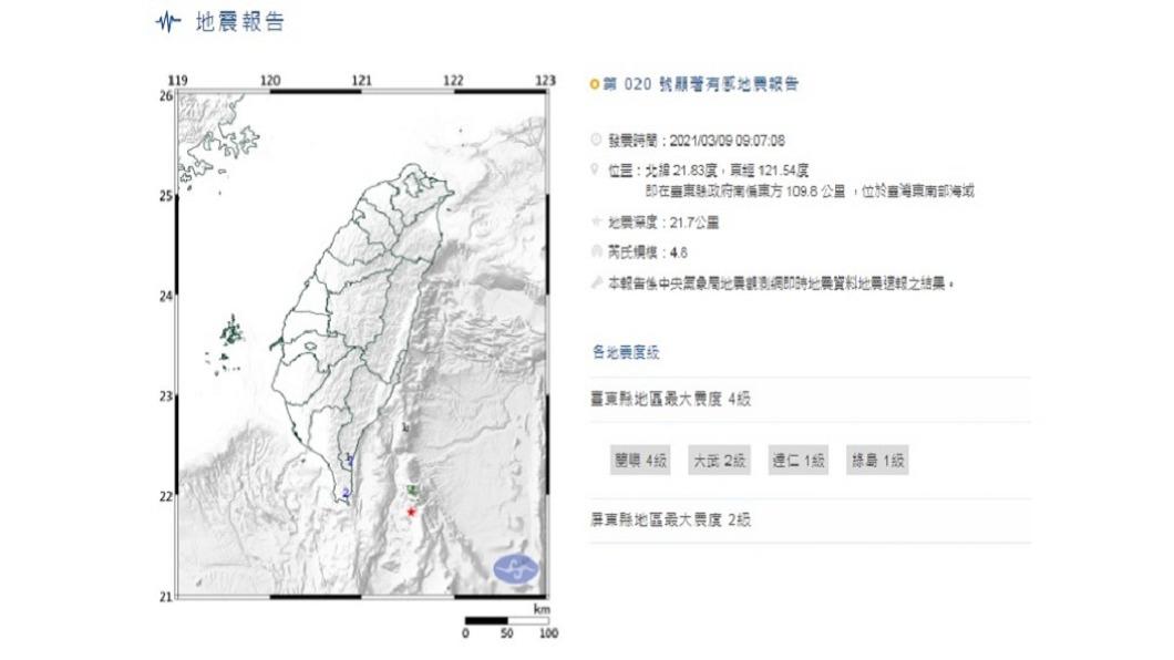 (圖/中央氣象局) 東南部海域連2震 地震測報中心:2日地震餘震