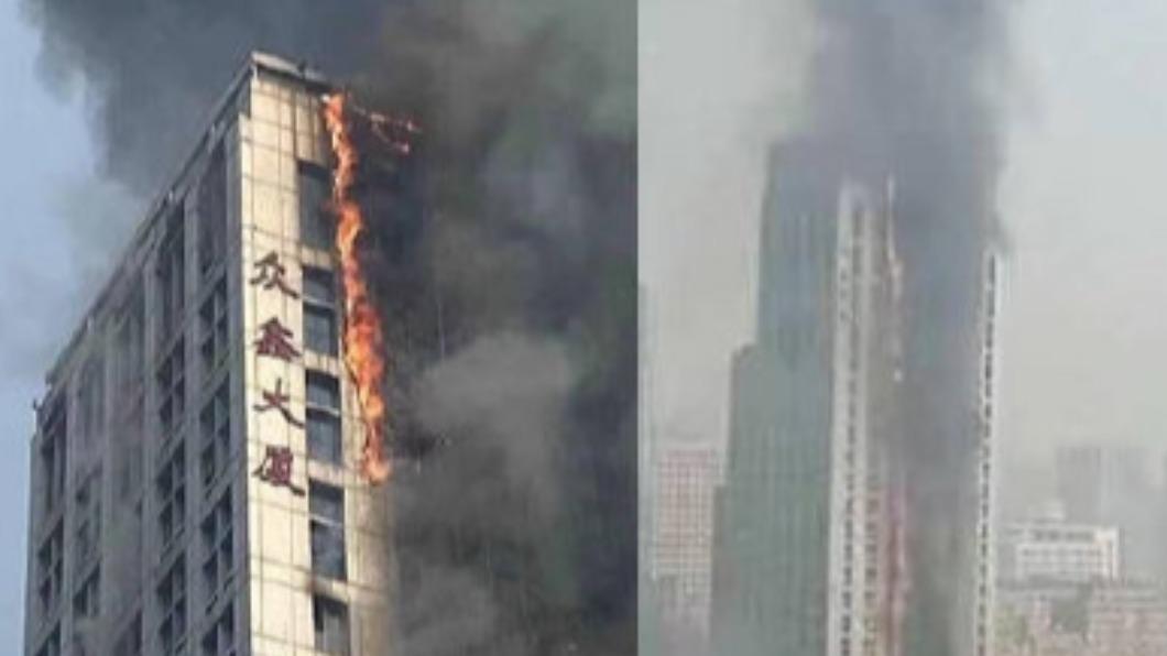 圖/微博 火光沖天! 河北石家莊辦公高樓延燒如火龍