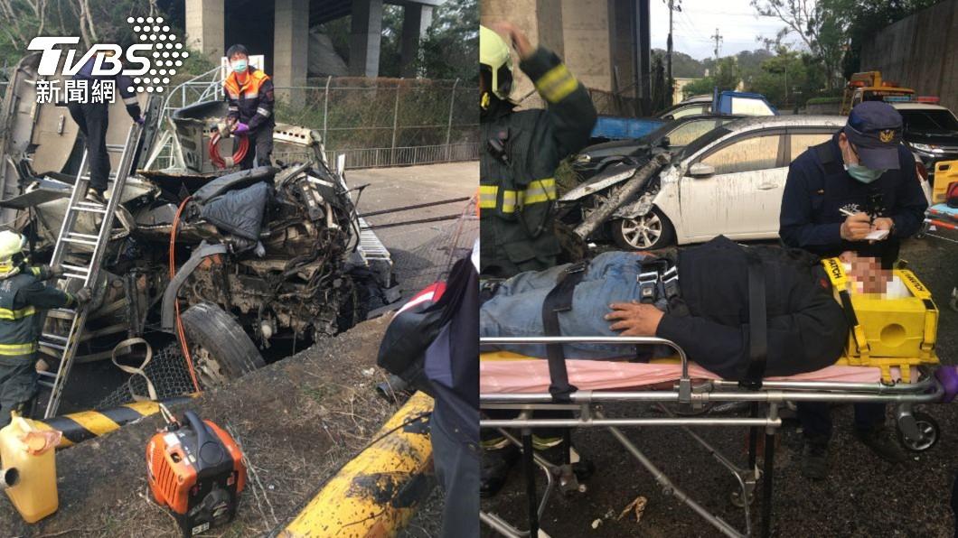 國3新竹段車禍 拖板車翻落高架橋2人傷
