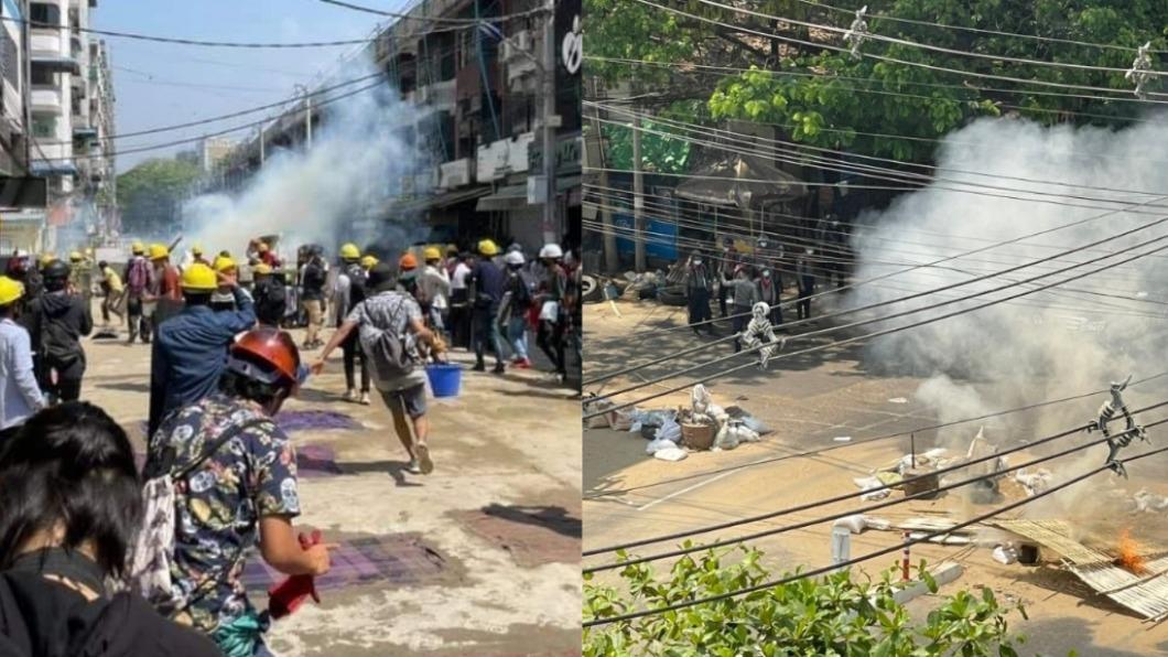 緬甸政變持續進行中。(圖/翻攝自myatnoeaye、KonicPhyoe推特) 被逼「當街槍殺人民」 緬甸警抗命逃印度:不想回去