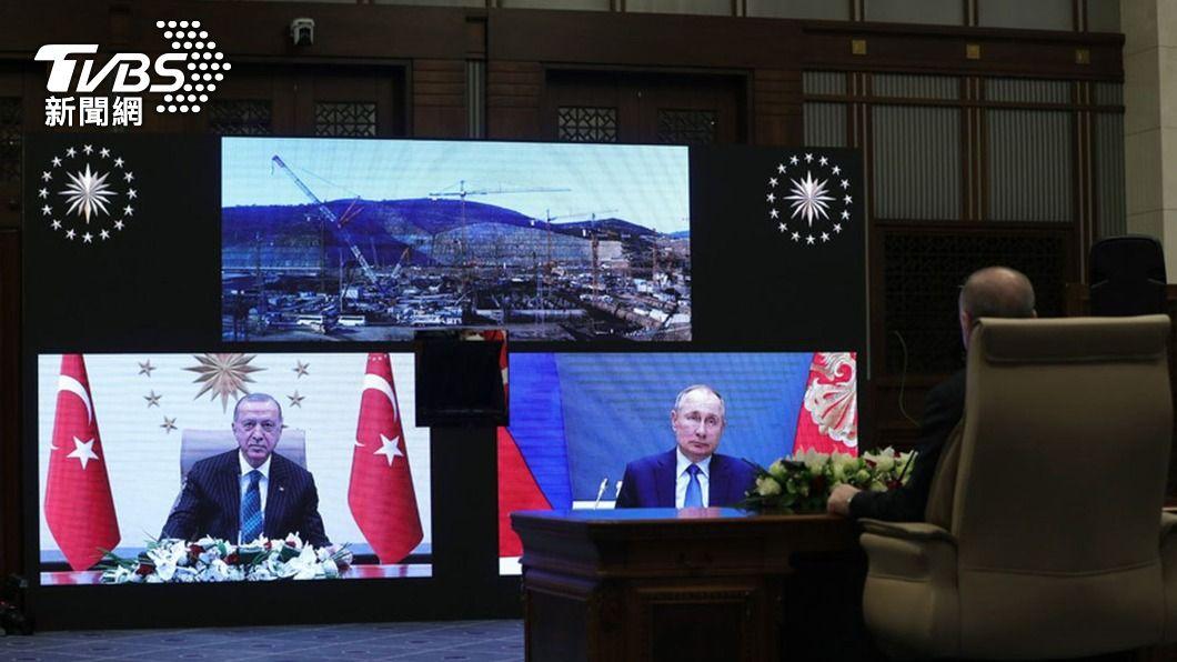 艾爾段和普欽以視訊方式出席典禮。(圖/中央社) 土耳其核電廠反應爐動土 艾爾段、普欽視訊出席