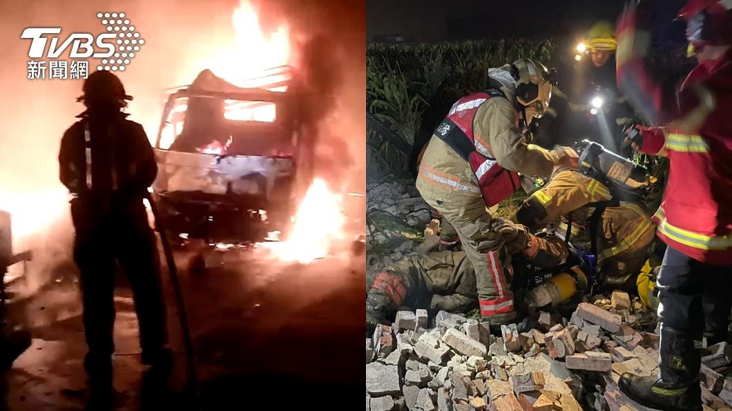 台南市佳里區民宅凌晨發生火警。(圖/TVBS) 台南民宅烈火狂燒驚見2焦屍 倒塌圍牆壓傷消防員