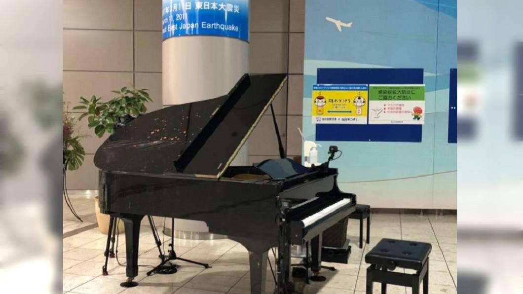 圖/翻攝自@ANA_travel_info推特 挺過海嘯浩劫 日仙台機場有「復興鋼琴」