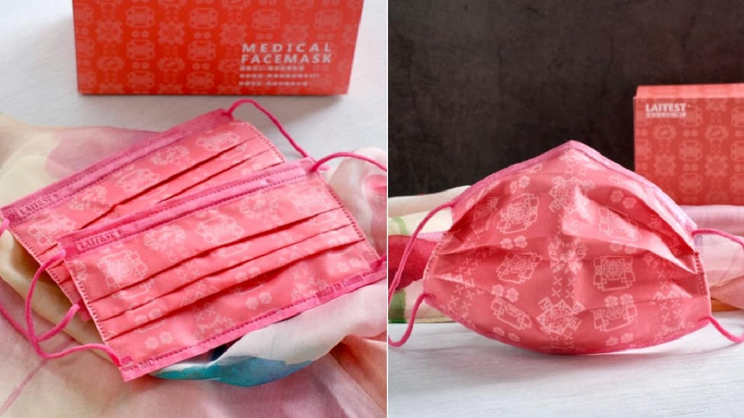 古典風格的「絲綢口罩」登場。(合成圖/翻攝自R&R 萊禮生醫臉書) 限量開賣1萬盒 「粉紅絲綢口罩」情人節浪漫登場