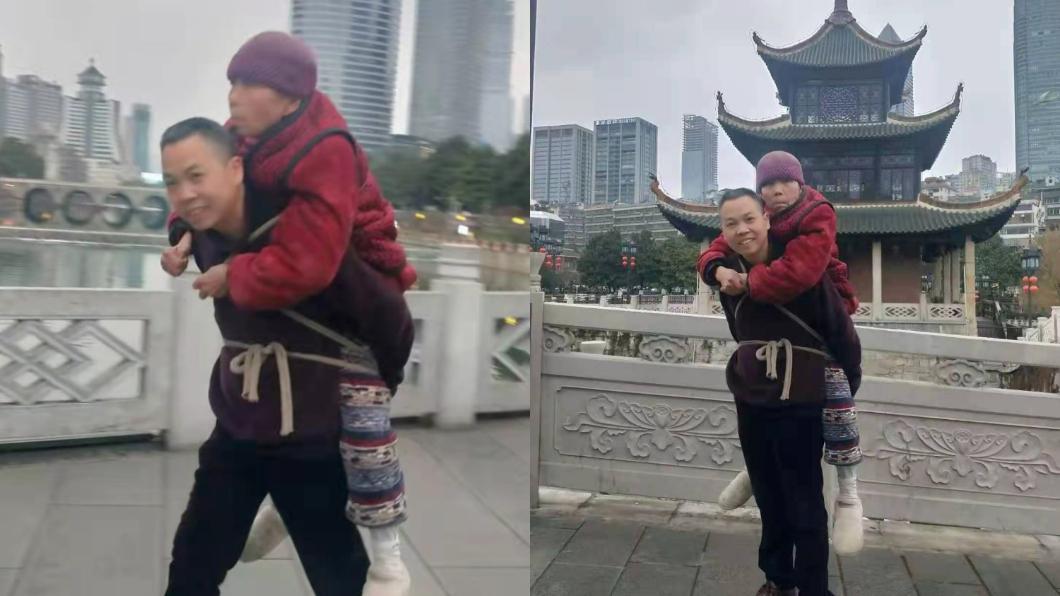 男子背著癱瘓的老母親走遍風景區。(圖/翻攝自陸媒《瀟湘晨報》) 換我照顧妳!陸男「背81歲癱瘓母」走遍風景區圓夢