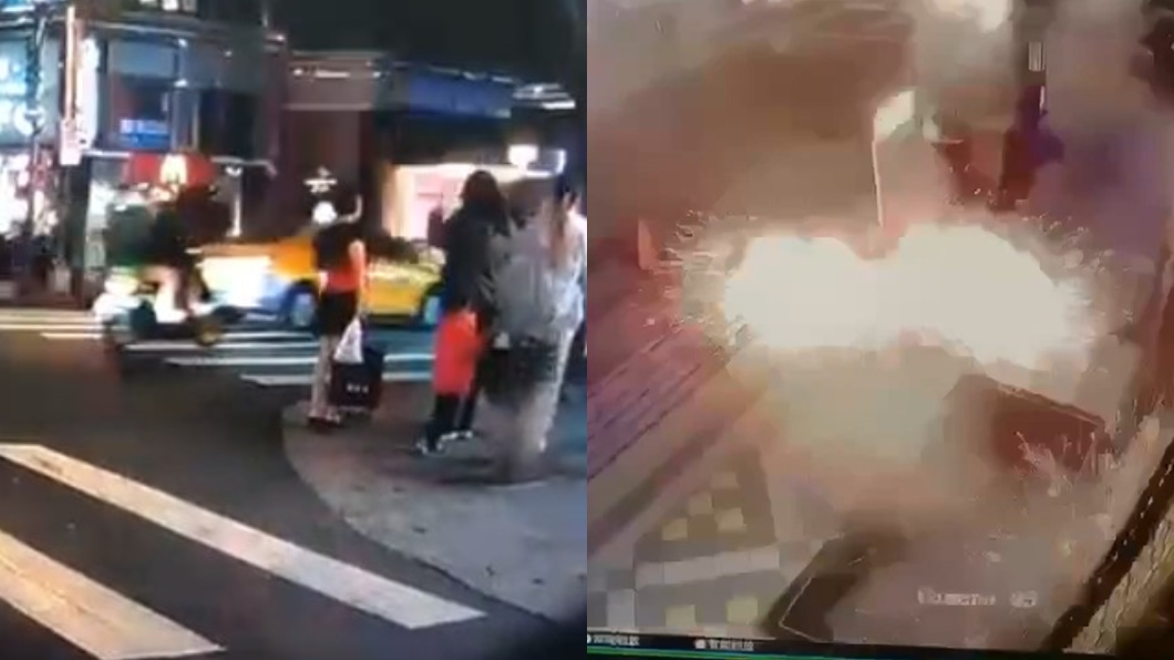 林森北路酒店遭人扔擲手榴彈,路旁一名媽媽將孩子緊擁入懷。(圖/翻攝自爆料公社、TVBS) 林森北路酒店遭扔手榴彈 爆炸現場旁「勇母肉身護子」