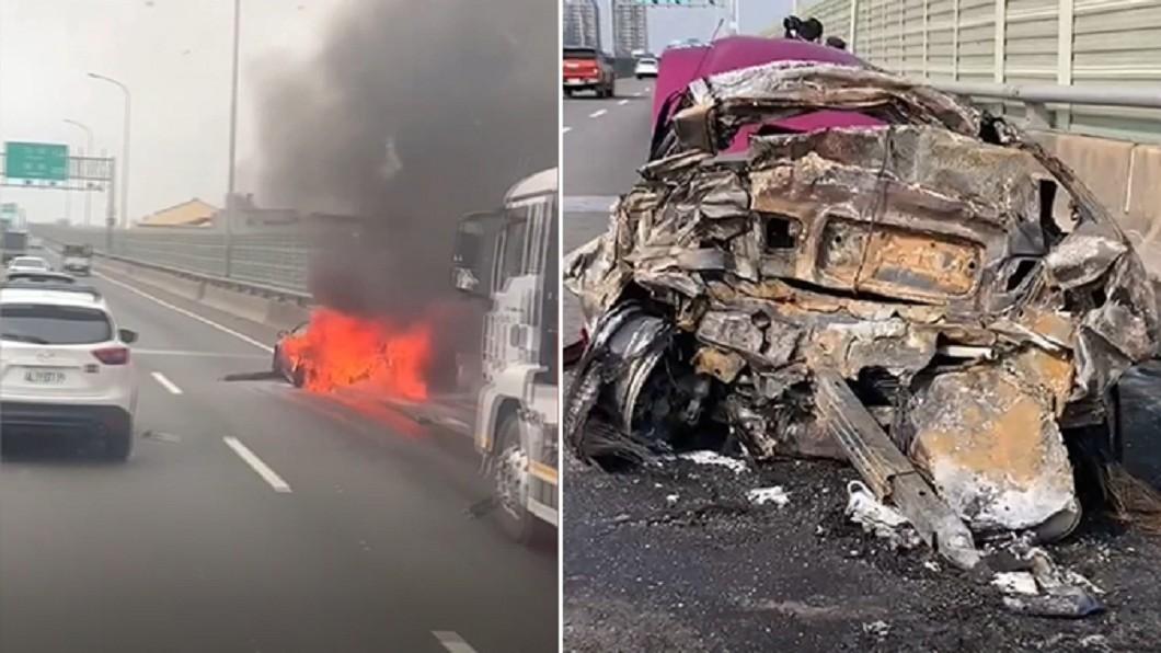 轎車燒成爛鐵。(圖/翻攝自台中踢爆網臉書、TVBS) 西濱火燒車姨甥「成碳化焦屍」 男倖存哀求:別救我