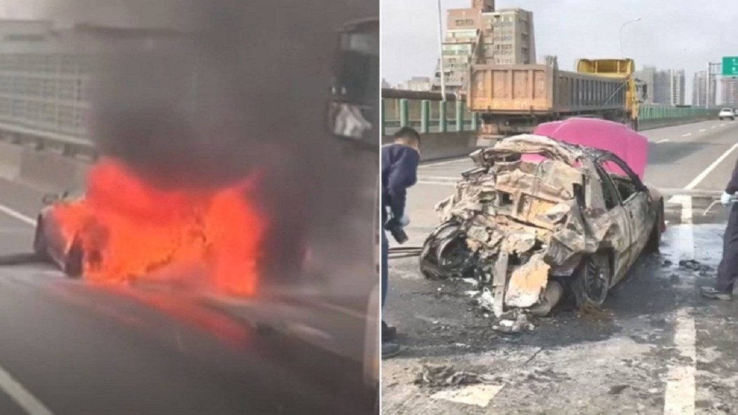 火燒成2死1重傷。(圖/翻攝自台中踢爆網臉書、TVBS) 女低收清寒 夫兒「1個月內相繼亡」妹又遇西濱火燒車