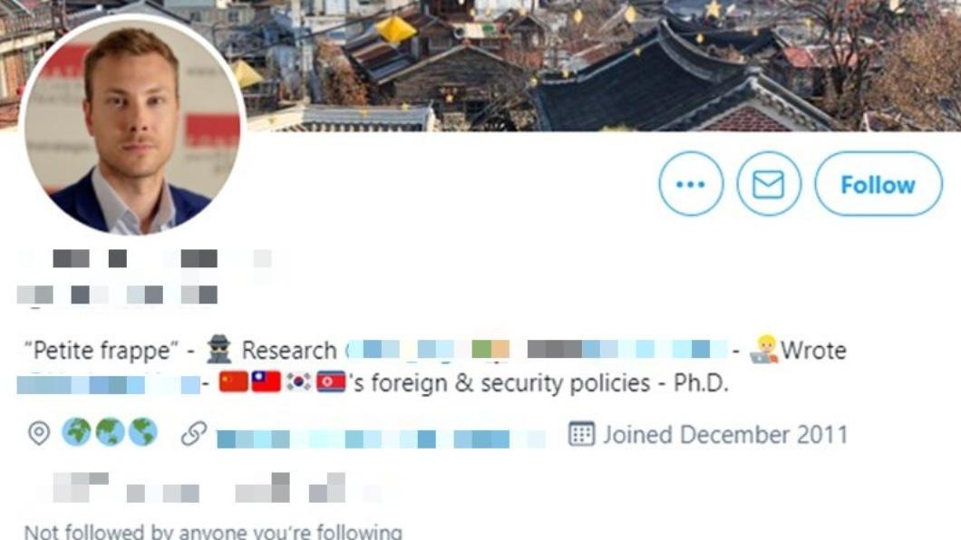 法國學者波恩達茲在推特自介自我調侃加上「流氓」二字。(圖/翻攝自Antoine Bondaz Twitter) 陸使館辱罵法學者「流氓」 各界不滿盼外長出面