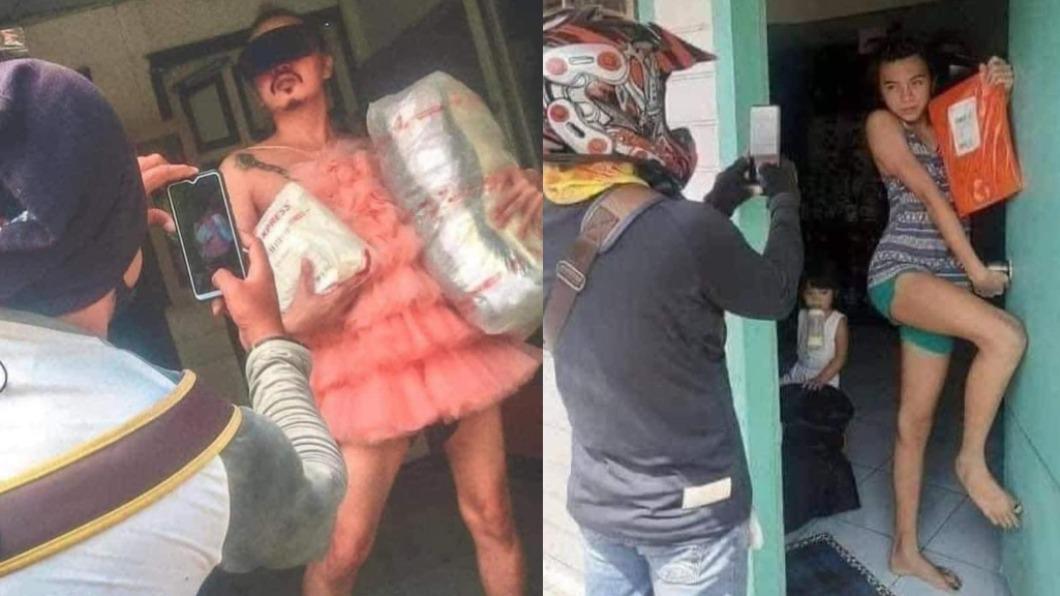 民眾取貨拍照,各種搔首弄姿。(圖/翻攝自「泰國清邁象」) 貨物簽收用「拍的」 泰民眾化身超模妖嬌浮誇太吸睛