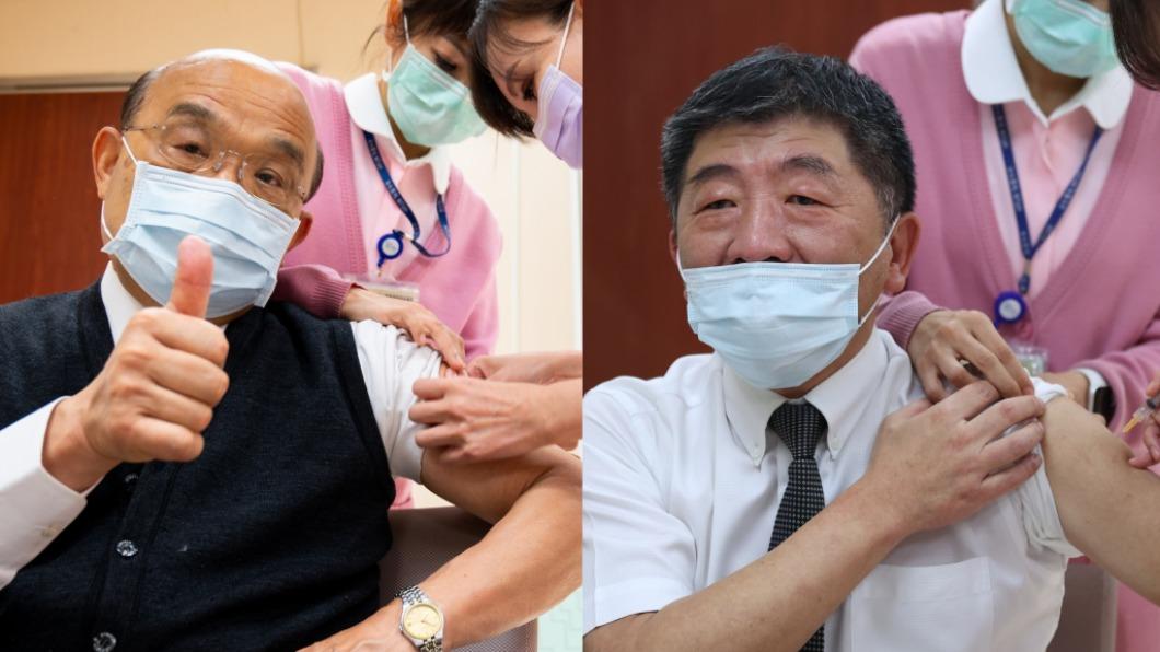 陳時中、蘇貞昌帶頭施打AZ疫苗。(圖/行政院提供) 揭AZ疫苗副作用發生率 施打2週有「7症狀」快就醫