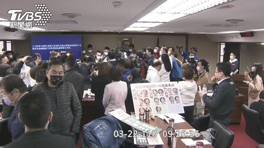 (圖/TVBS) 立院疫苗專案小組設立 朝野為確認議事錄再交火