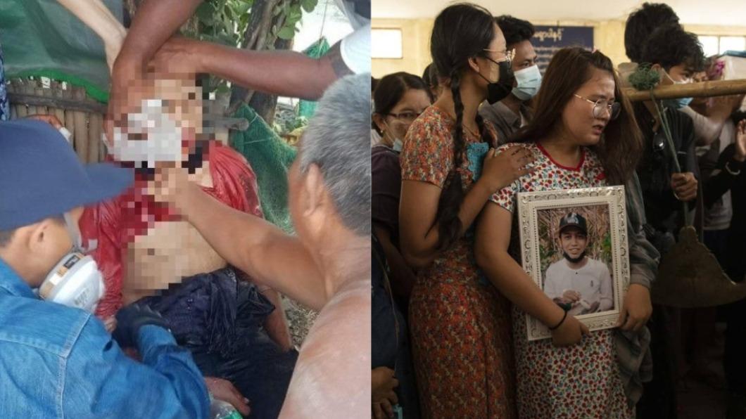 緬甸一名15歲少年遭軍方射殺。(圖/翻攝自IrrawaddyNews、Suri_mooyorw推特) 緬甸軍殺紅眼狂開槍 15歲少年「臉部中彈」身亡