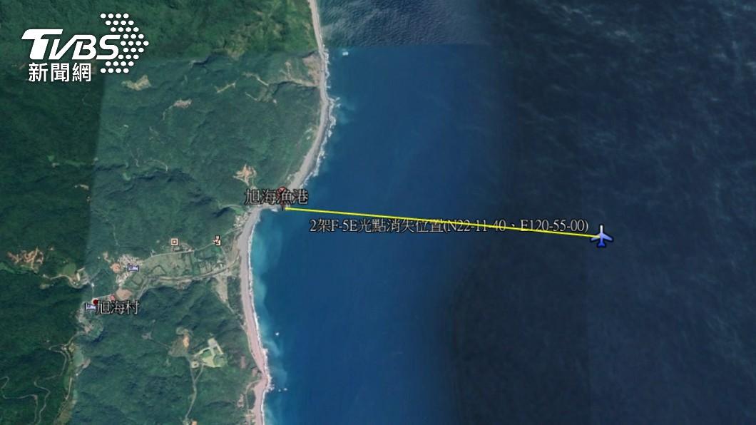 2架F-5E戰機在雷達上的光點突然消失。(圖/國搜中心) 空軍F-5E戰機空中擦撞墜海 台東地檢組專案調查