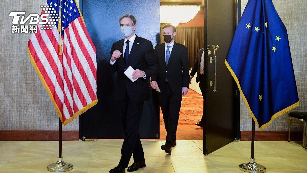 美國務卿布林肯出訪歐洲。(圖/達志影像美聯社) 布林肯訪歐首日 美歐加英聯合制裁新疆官員