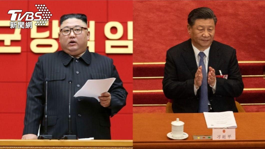 北韓領導人金正恩、中國國家主席習近平。(合成圖/達志影像美聯社) 金正恩、習近平互致口信 盼加強合作因應敵對勢力