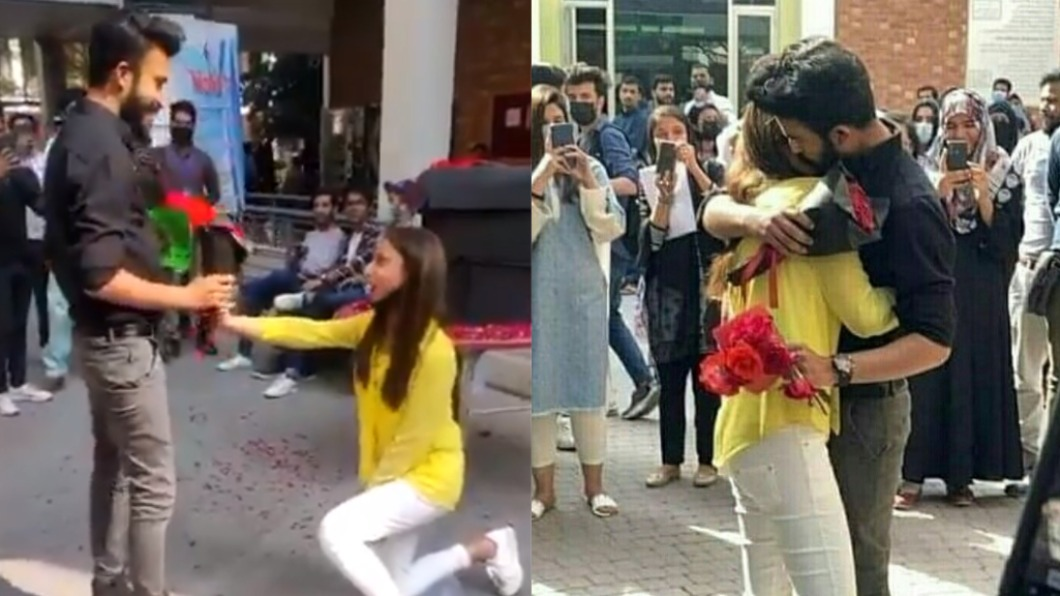 巴基斯坦一名女大生向男友公開示愛。(圖/翻攝自Nadeem_M7、novelistic_gwrl推特) 校園下跪求婚男友 巴基斯坦女大生挨轟「恥辱」遭開除