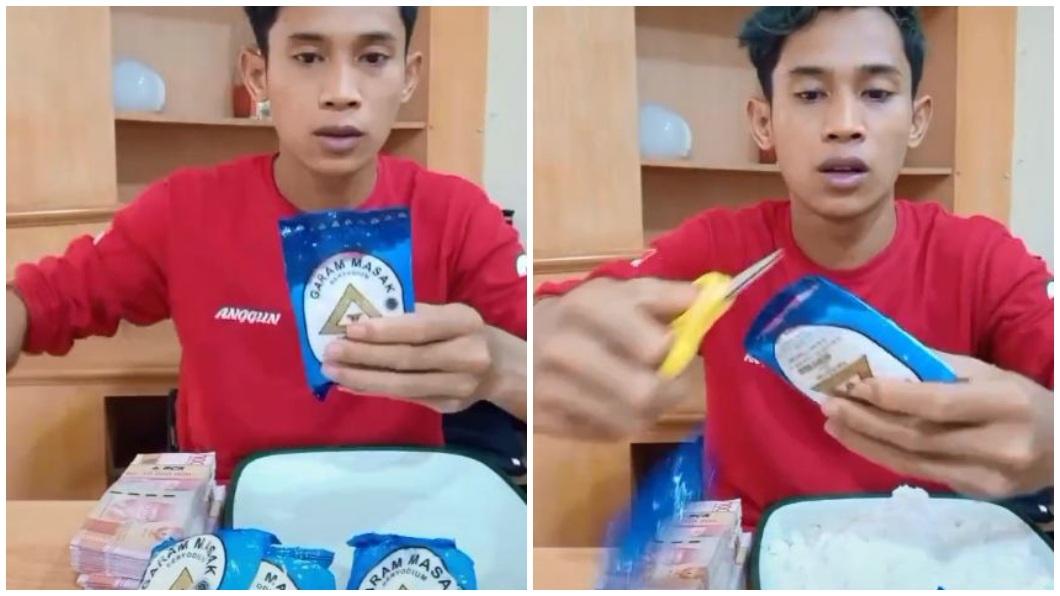 印尼一名網紅挑戰吃完4包鹽。(合成圖/翻攝自抖音) 拚賺5.9萬獎金 印尼網紅硬吞4包鹽表情超「母湯」