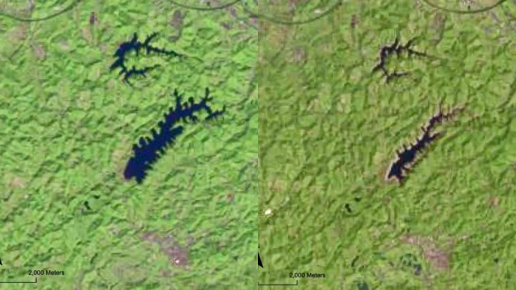 寶山第二水庫2019年與2021年的空拍對比照。(圖/翻攝自綠色和平組織臉書) 中南部缺水多嚴重?3水庫枯竭慘照曝光「泥沙大幅露出」