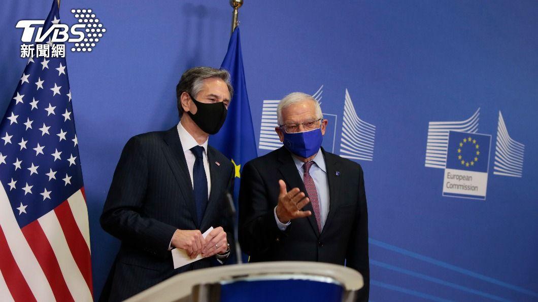 美國務卿布林肯與歐盟外交和安全政策高級代表波瑞爾會面。(圖/達志影像美聯社) 對抗北京挑戰 美歐宣布重啟中國議題對話機制