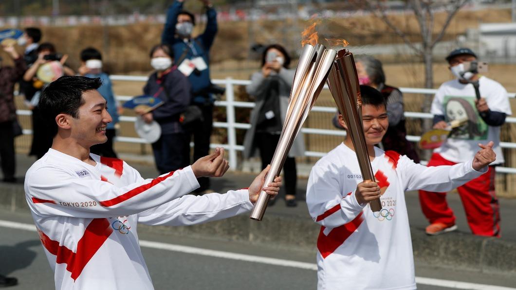 圖/達志影像路透 東京奧運聖火傳遞開跑 萬人接力跑遍全日本