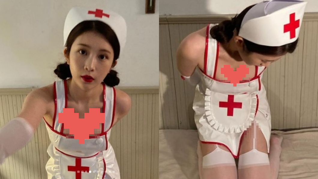 鄭家純曬出穿著護士服的照片,樂翻一票粉絲。(圖/翻攝自雞排妹IG) 雞排妹辣穿護士服 開高衩「透白吊襪帶」網全噴鼻血