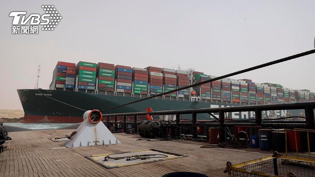 圖/TVBS 蘇伊士運河卡船 埃及總統下令準備替長賜輪減重