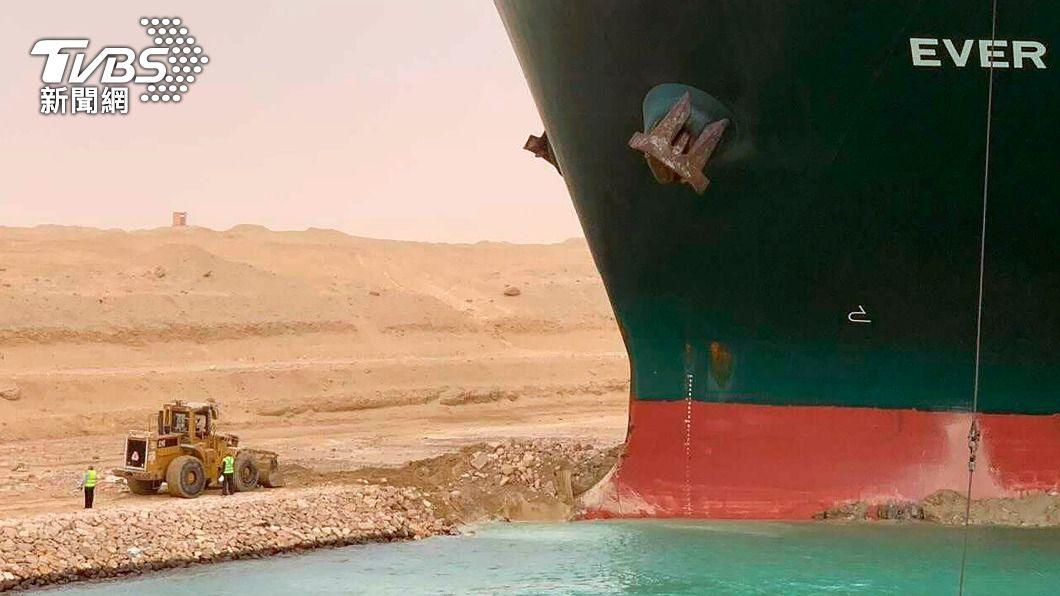 圖/TVBS 長榮貨輪卡蘇伊士運河已完成87%挖沙 土耳其伸援