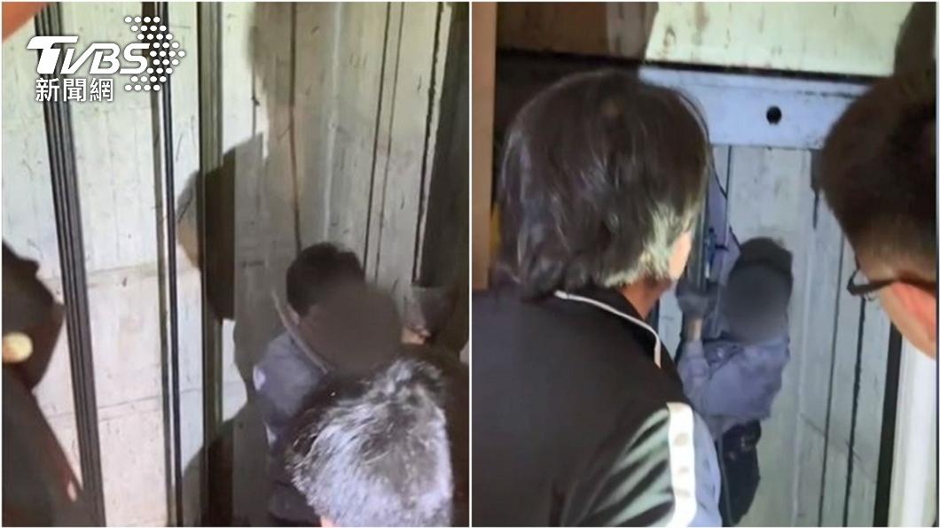林姓電梯維修工受困電梯,消防隊協助脫困。(圖/TVBS) 大怒神?電梯暴衝11樓卡3小時 他打119:救我